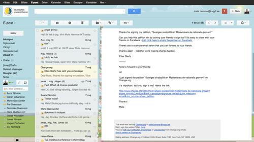 Förhandsgranskningsfönster G-mail Labs